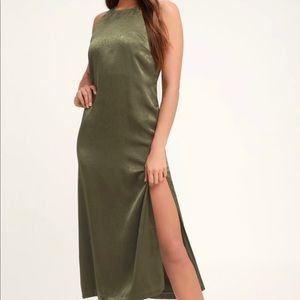 Lulus Savona Olive Green Satin Midi Dress